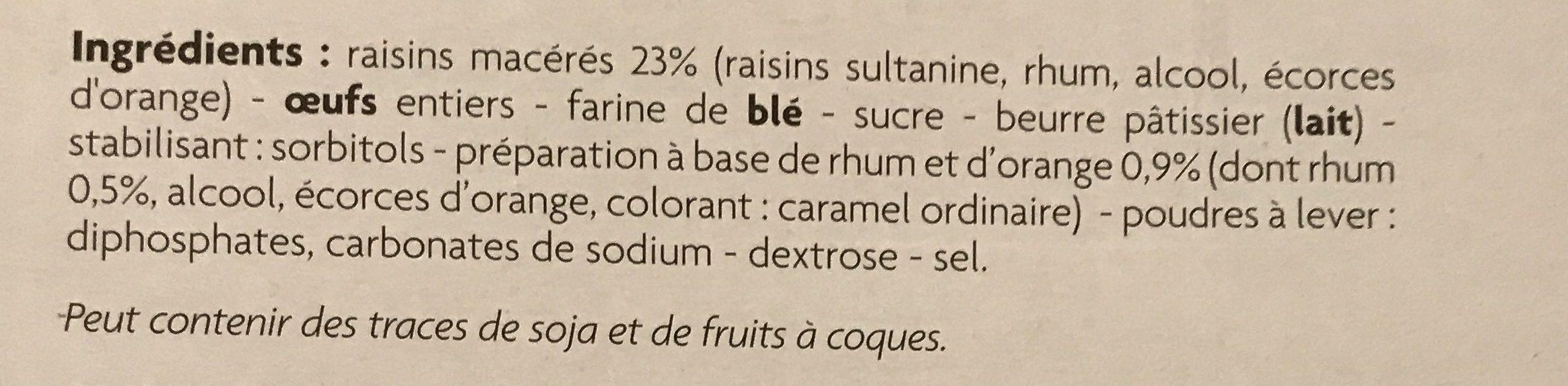 Mini Quatre-Quarts Rhum Raisin - Ingrediënten - fr