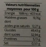 Quatre-Quarts Poire Chocolat - Nutrition facts - fr