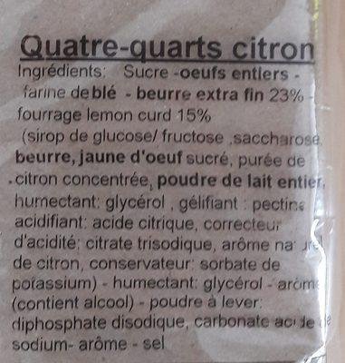 Quatre quarts citron - Ingrédients - fr