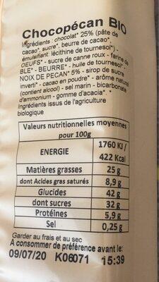 Chocopécan - Nutrition facts - fr
