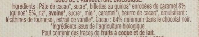 Chocolat Noir 64% de cacao au quinoa Bio - Inhaltsstoffe - fr