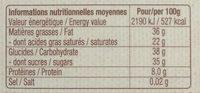 Chocolat Noir 64% de cacao au quinoa Bio - Nährwertangaben - fr