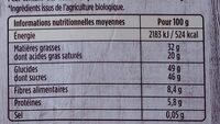 Bio orange fèves de cacao - Wartości odżywcze - fr