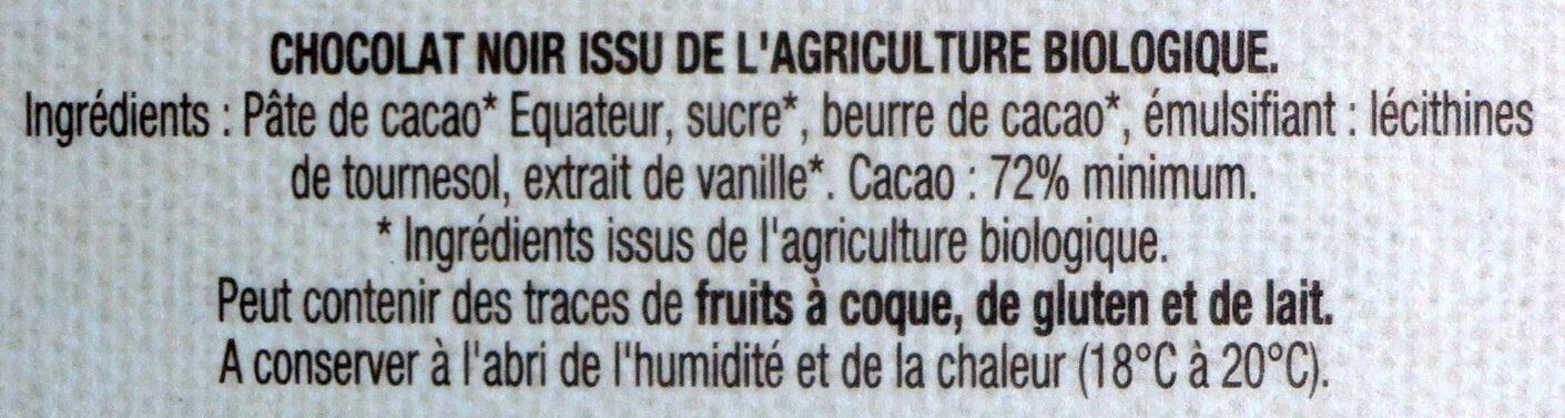 Noir 72% Équateur - Ingredients - fr