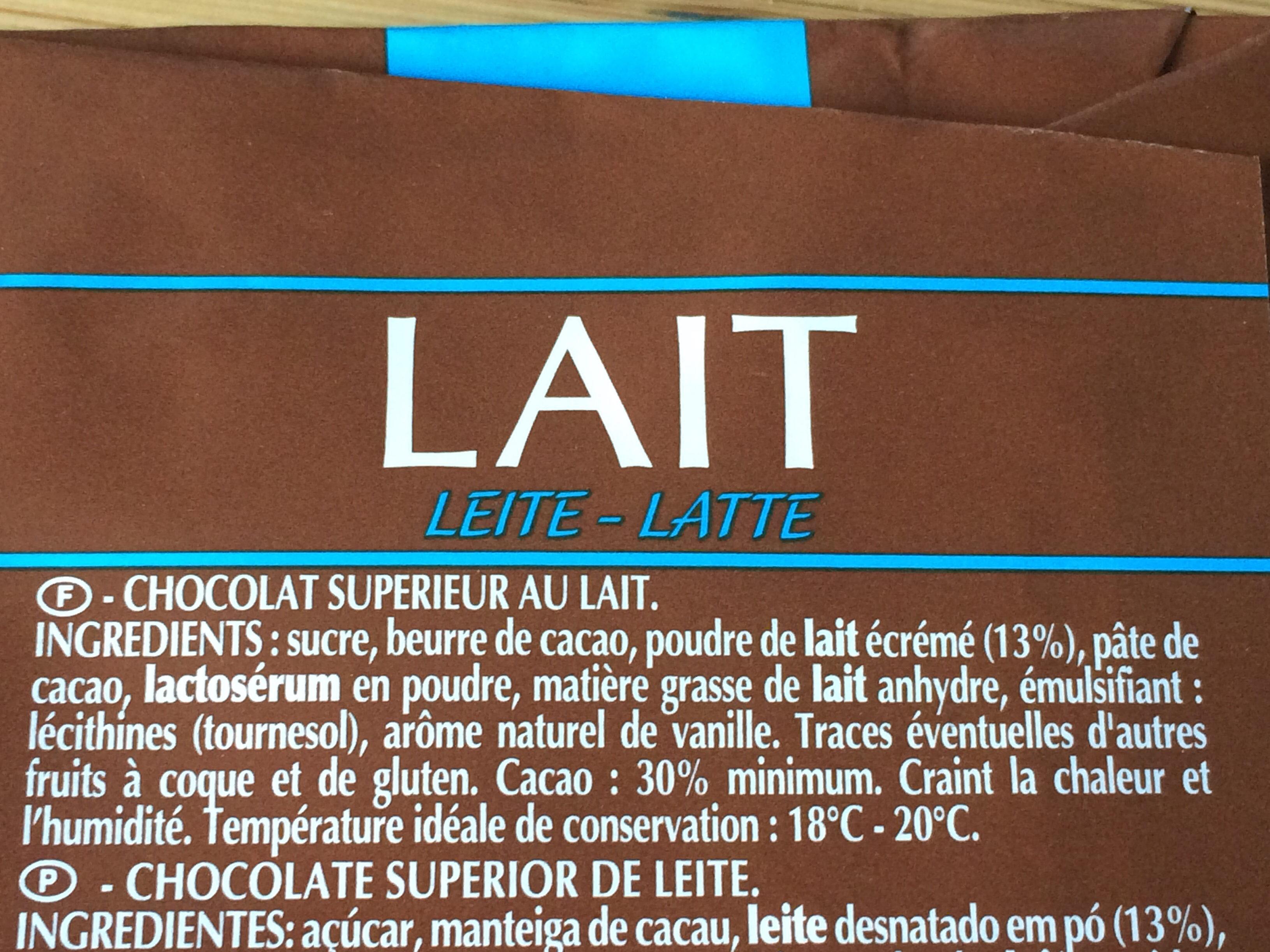 Chocolat Lait - 成分 - fr