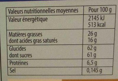 Calendrier de l'Avent Nativité - Nutrition facts