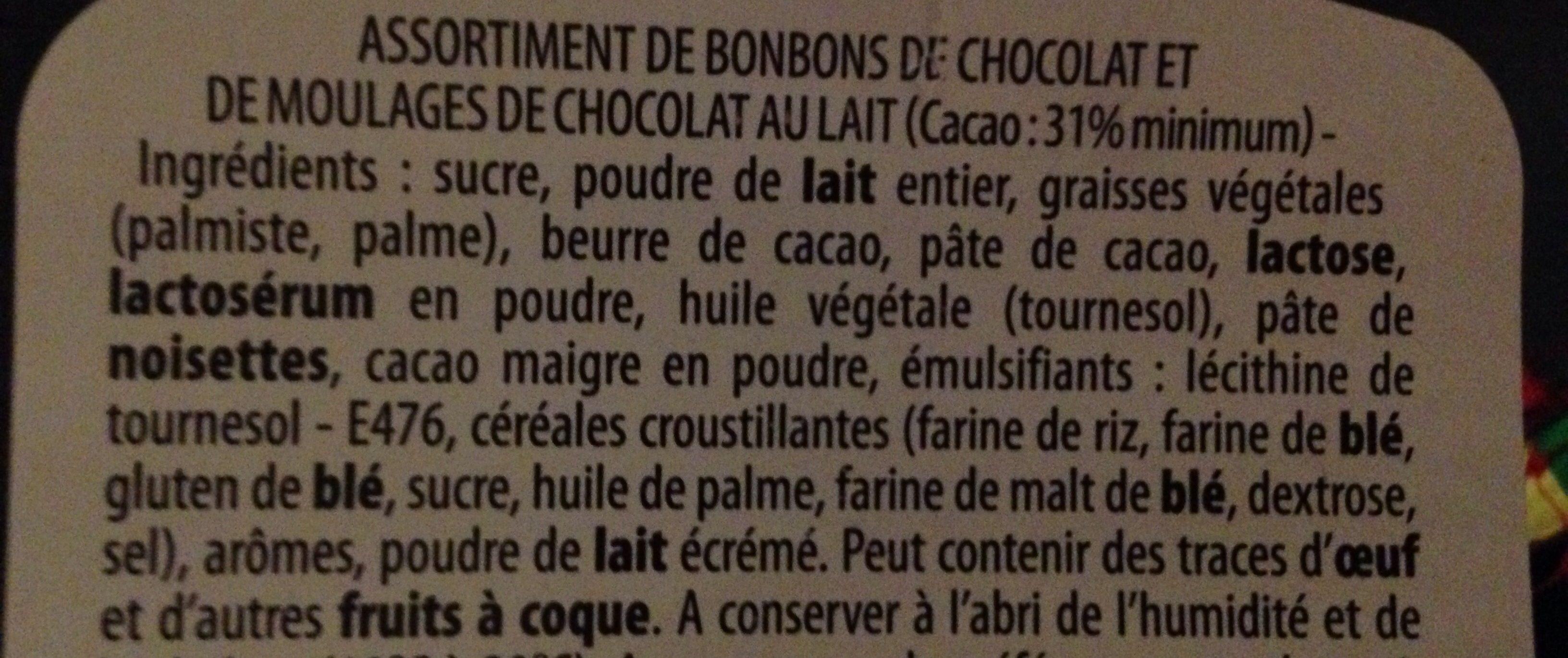 Bonbons de chocolat et moulages chocolat au lait - Ingredients - fr