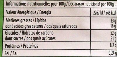 Chocolat au lait - Informations nutritionnelles - fr