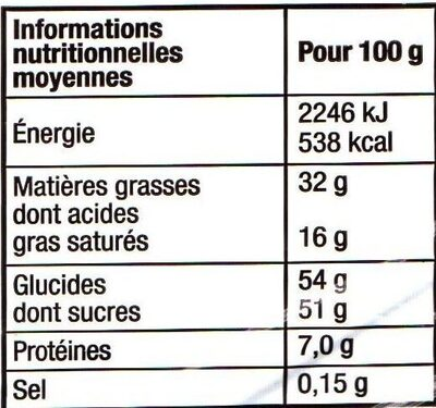 Les Papillotes, Follement Praliné - Nutrition facts - fr