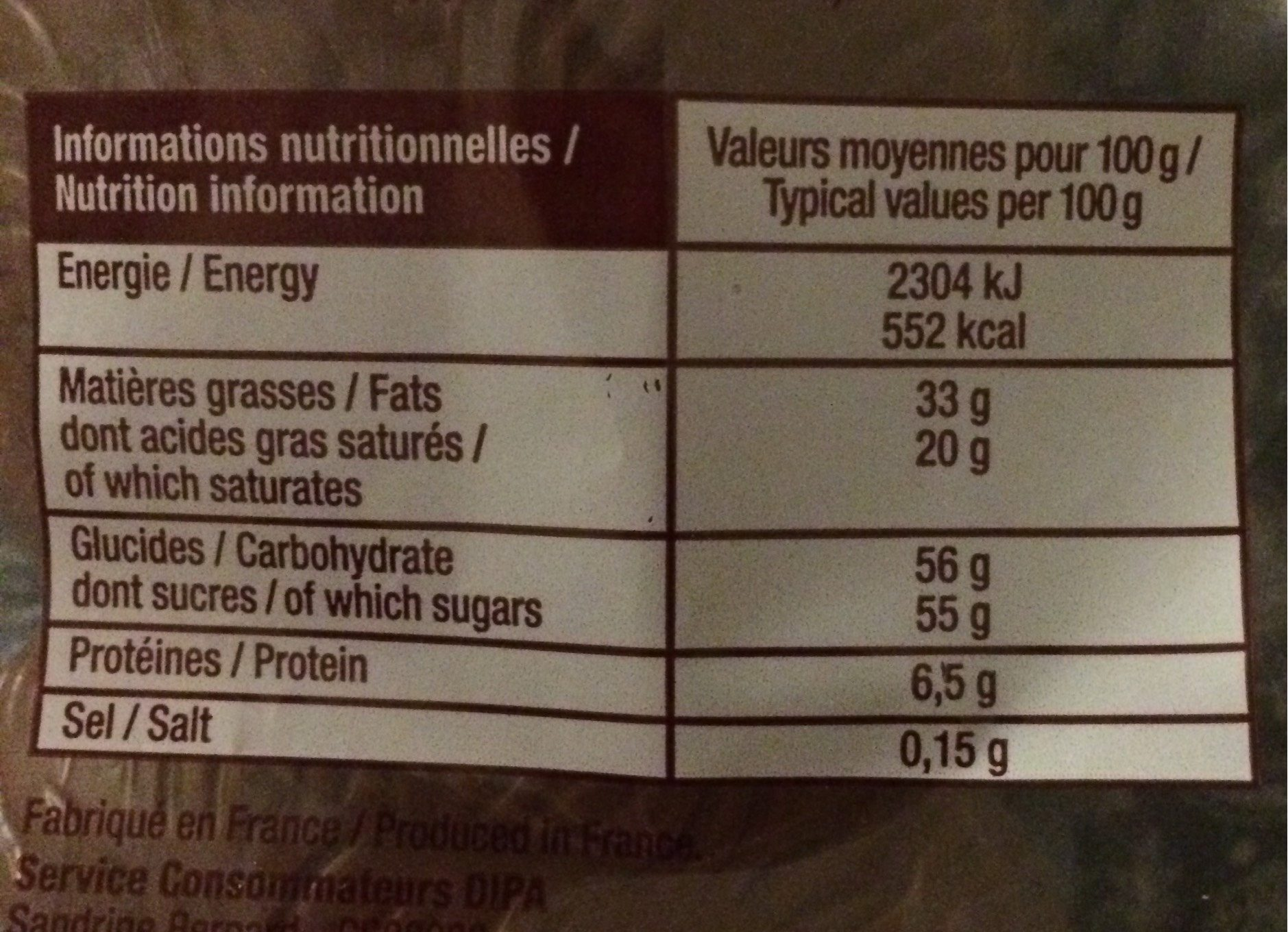 Lapin en Chocolat - Informations nutritionnelles - fr