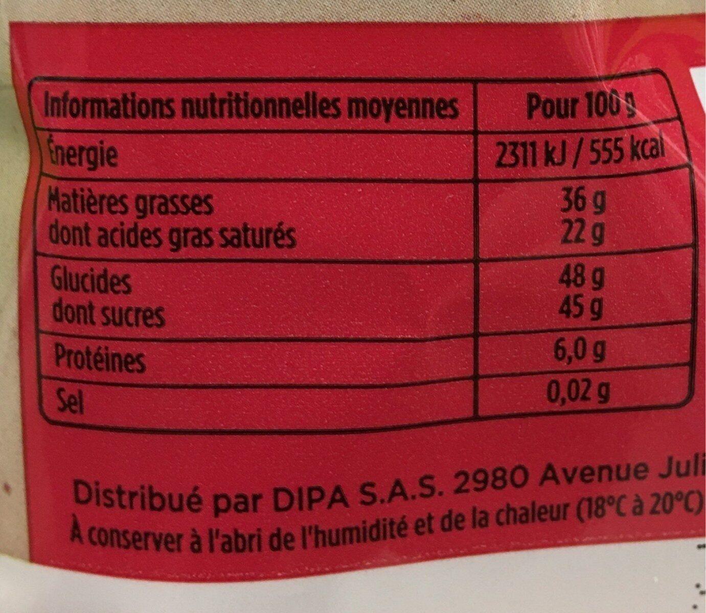 Oeuf chocolat noir - Valori nutrizionali - fr