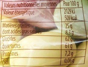 Secrets de Chocolat Amandes Grillées et Gandjua - Informations nutritionnelles