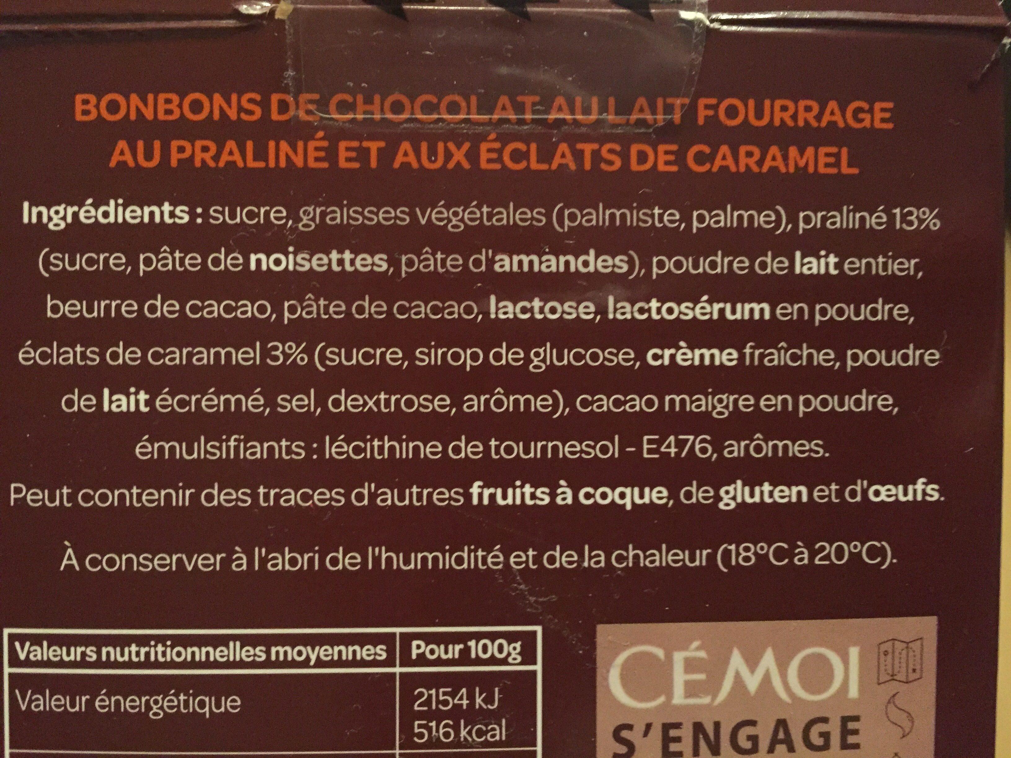 Bonbons œuf praliné caramel - Ingredients