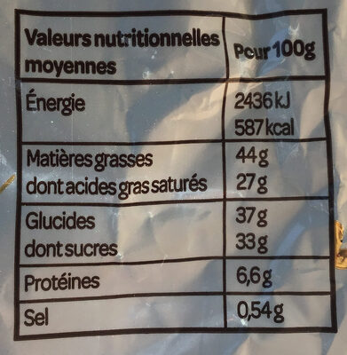 Bonbons Chocolat Noir Pointe de Sel - Informations nutritionnelles - fr