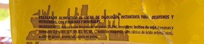 Cacao Instantáneo - Ingredientes