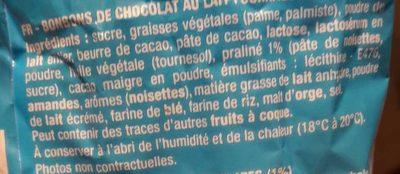 Boules Praliné Chocolat au Lait - Ingrediënten