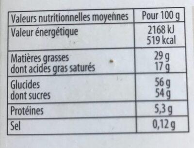 Cheverny Assortiment de chocolats au lait Noirs et Blancs - Informations nutritionnelles