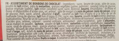 Cheverny Assortiment de chocolats au lait noirs et blancs Cémoi - Ingredients - fr