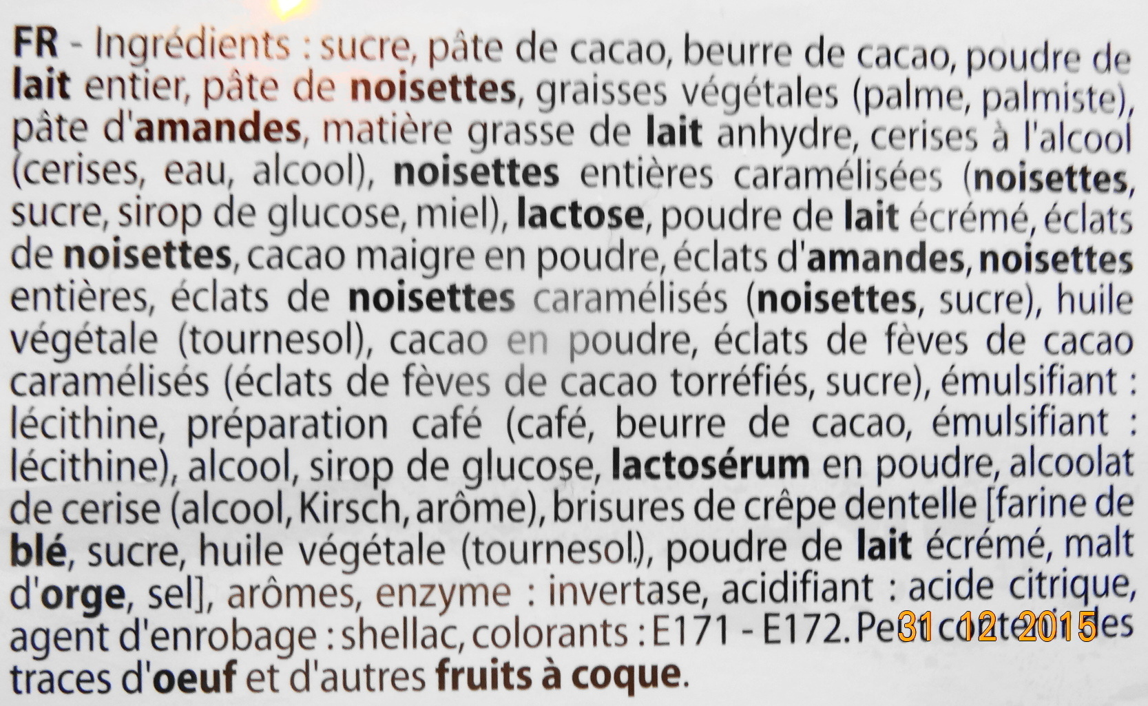 Assortiment Chocolatier - Ingrédients - fr