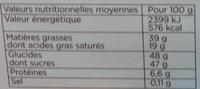 Trésor croquant - Informations nutritionnelles - fr