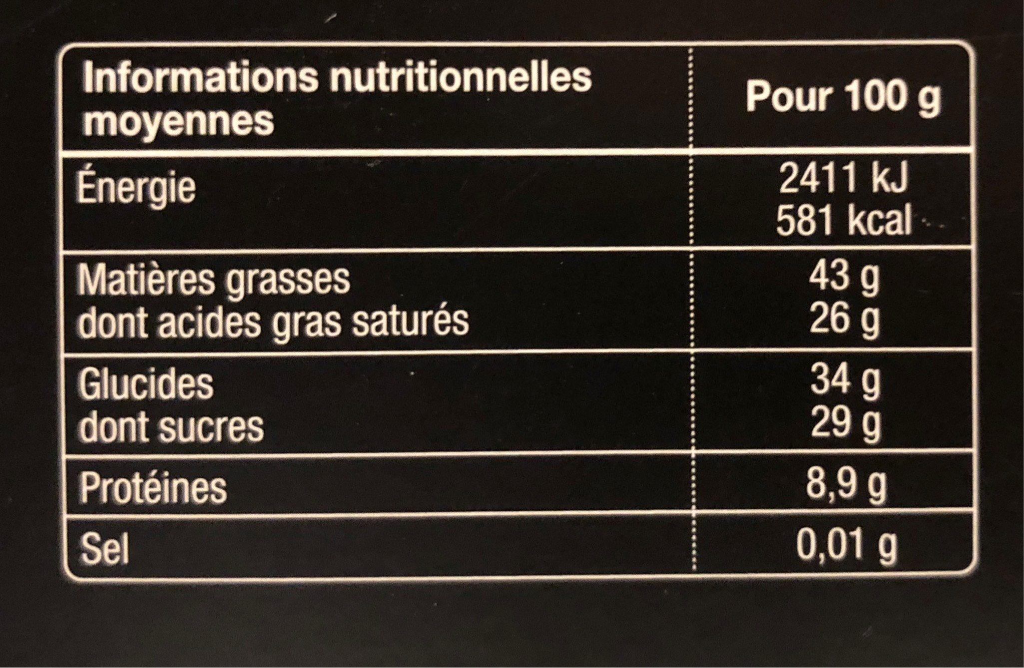 Decouverte grands cacaos - Informations nutritionnelles - fr