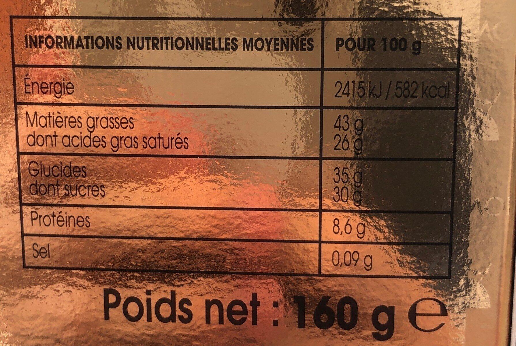 Oeuf chocolat noir 70% - Valori nutrizionali - fr