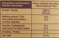 Jacquot Assortiments chocolat - Nutrition facts