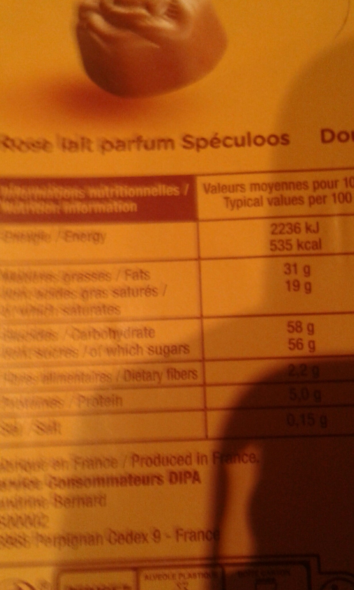 Jacquot Boite Decor - Informations nutritionnelles - fr