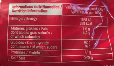 Papillotes Surfines - Informations nutritionnelles - fr