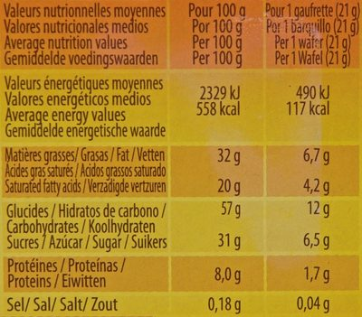 Quadro Pocket - Nutrition facts