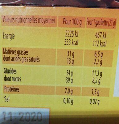 Quadro - Nutrition facts - fr