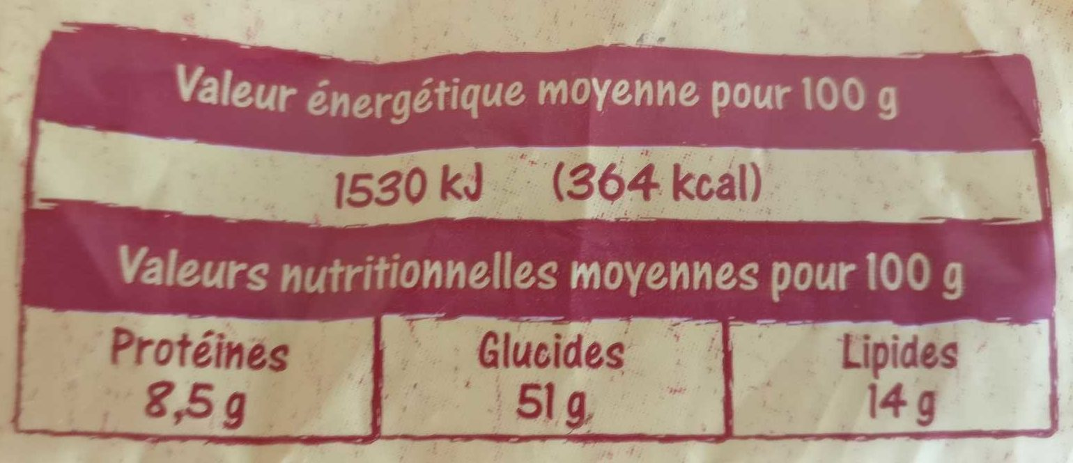 Gâche Pur Beurre - Nutrition facts