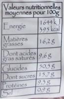 Brioche Vendéenne - Informations nutritionnelles
