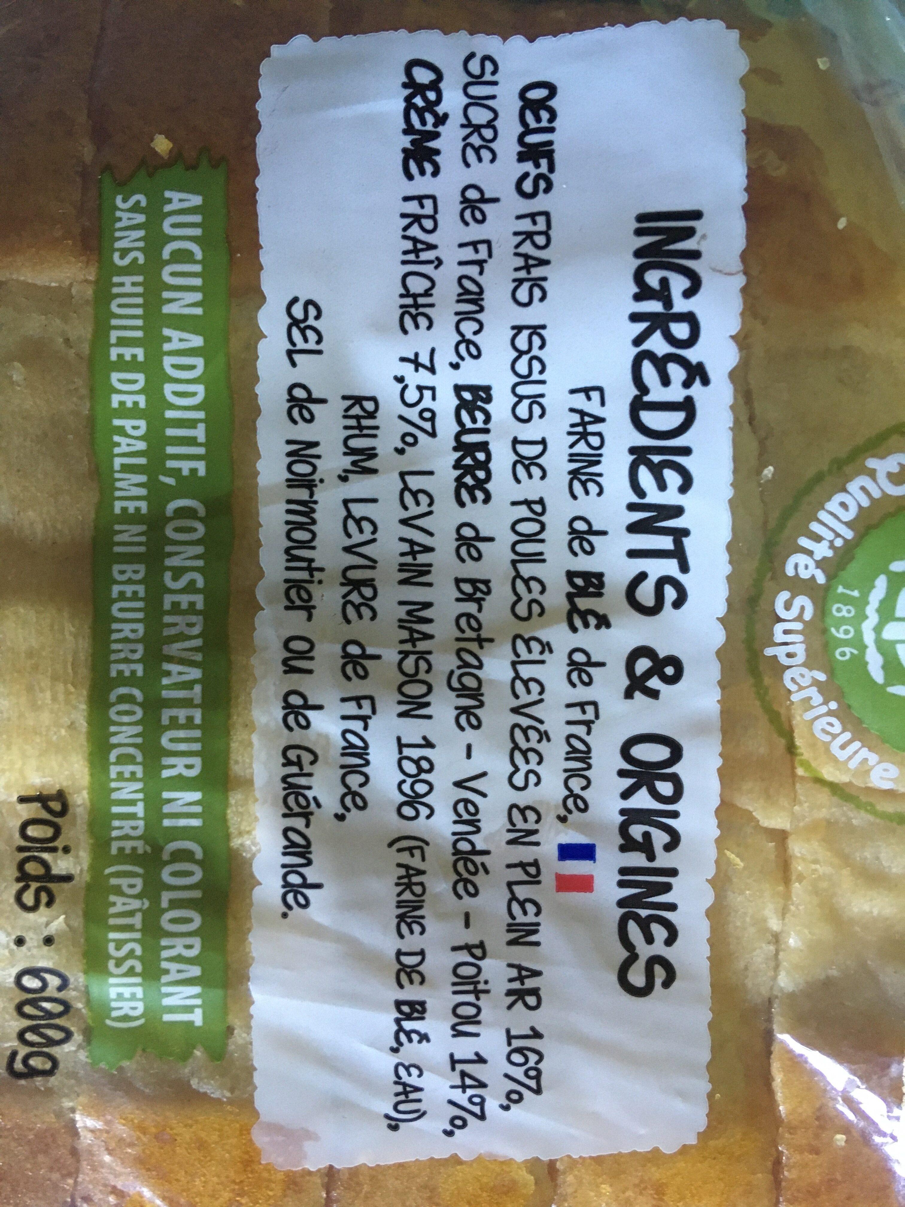 Gâche en tranches épaisses, pur beurre et à la crème fraîche - Ingrédients - fr