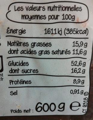 Gâche en tranches épaisses, pur beurre et à la crème fraîche - Informations nutritionnelles - fr
