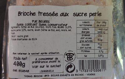 Brioche tressée aux perles de sucre - 产品 - fr