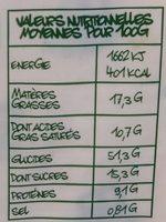 Gâche Bio en tranches - Informations nutritionnelles