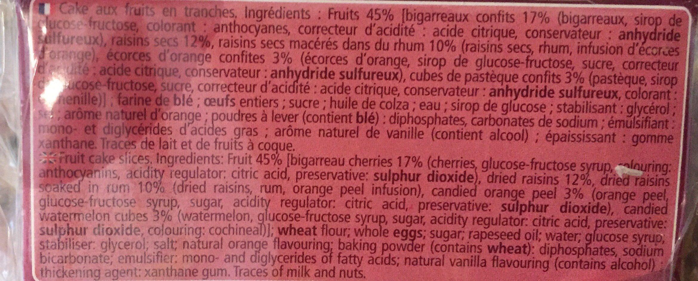 Cake aux fruits en tranches - Ingrediënten - fr