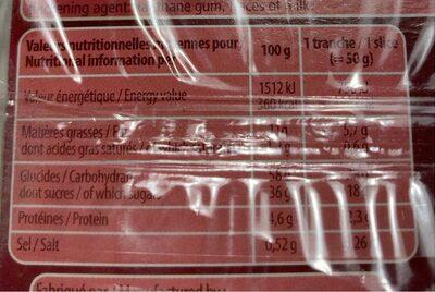 Cake aux fruits en tranches - Voedingswaarden - fr