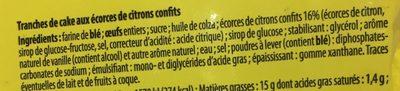 2 Tranches de Cake Citron - Ingredients - fr