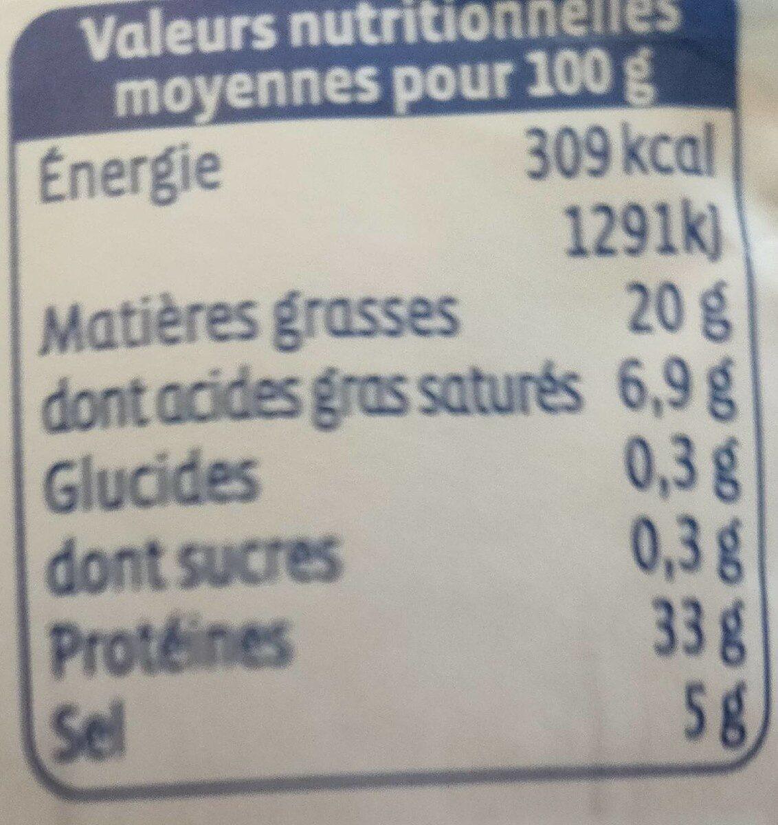 Saucisson Allege - Informations nutritionnelles - fr