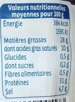 Saucisson sec aux Noisettes - Informations nutritionnelles - fr