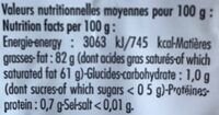 Beurre Doux Extra-fin,Verneuil - Informations nutritionnelles - fr