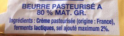 Le beurre demi-sel que je préfère - Ingrédients - fr