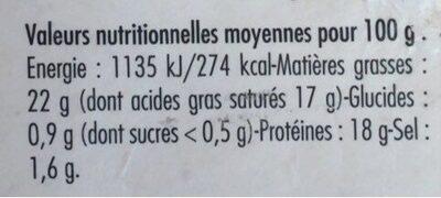 Le Valençay que je préfère - Informations nutritionnelles - fr