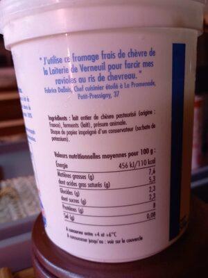 La faisselle de chèvre - Informations nutritionnelles - fr