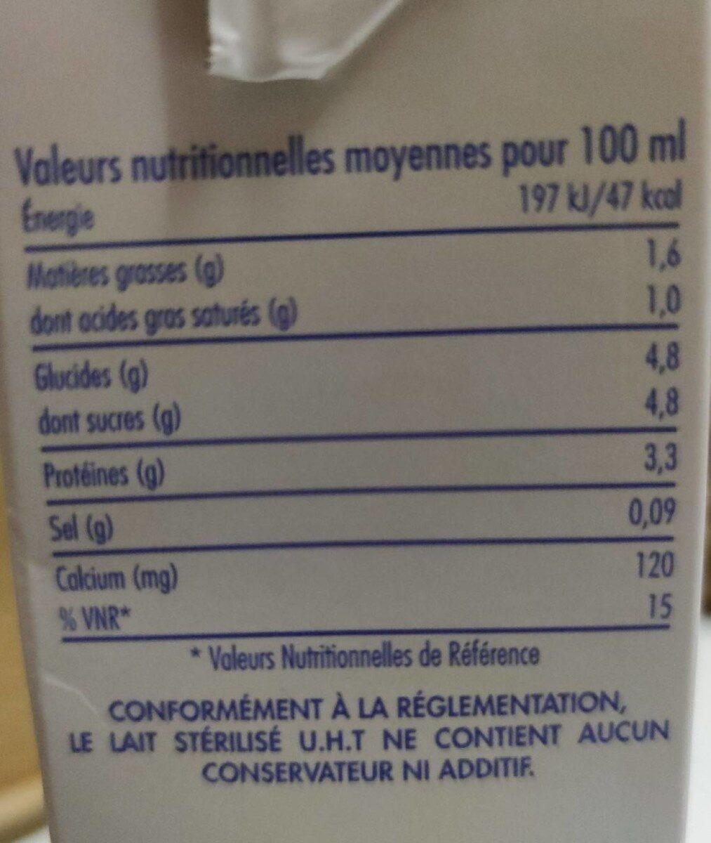 Lait demi-écrémé Le Gourmand - Informations nutritionnelles - fr