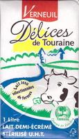 Délices de Touraine, Lait Demi-Écrémé Stérilisé UHT - Produit - fr