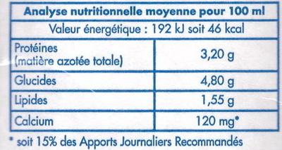 Délices de Touraine, Lait Demi-Écrémé Stérilisé UHT - Informations nutritionnelles - fr