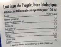 Lait demi-écrémé Bio - Informations nutritionnelles - fr